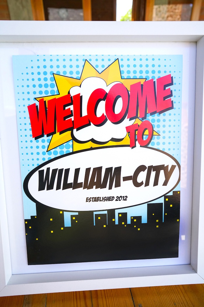 Welcome sign from a Superhero Birthday Party on Kara's Party Ideas | KarasPartyIdeas.com (16)