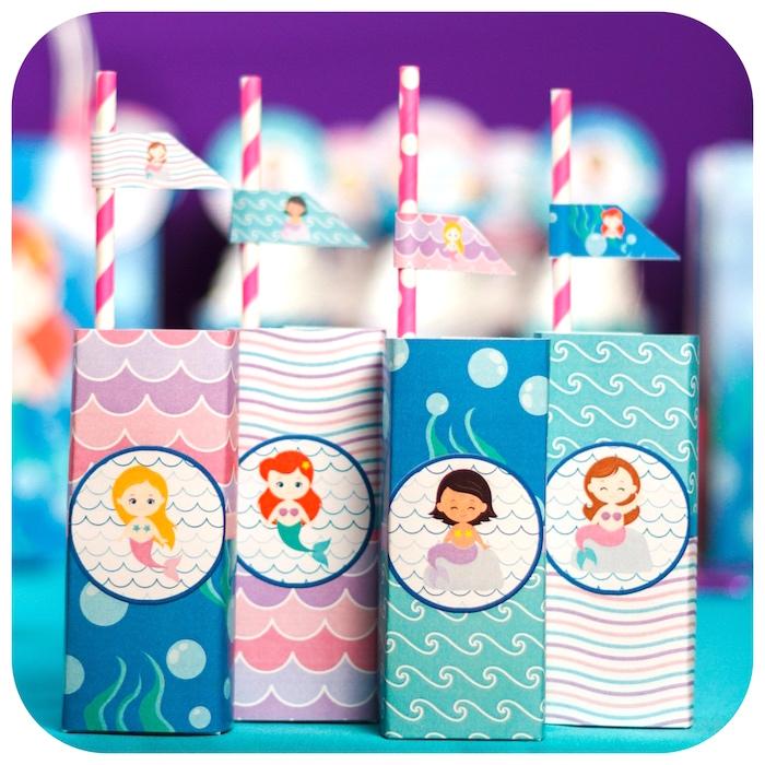 Mermaid juice boxes from a Sweet Little Mermaid Birthday Party on Kara's Party Ideas | KarasPartyIdeas.com (25)