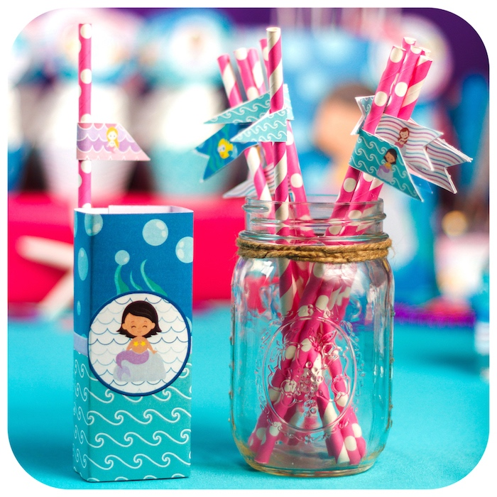 Straws in a twine-tied jar from a Sweet Little Mermaid Birthday Party on Kara's Party Ideas | KarasPartyIdeas.com (24)
