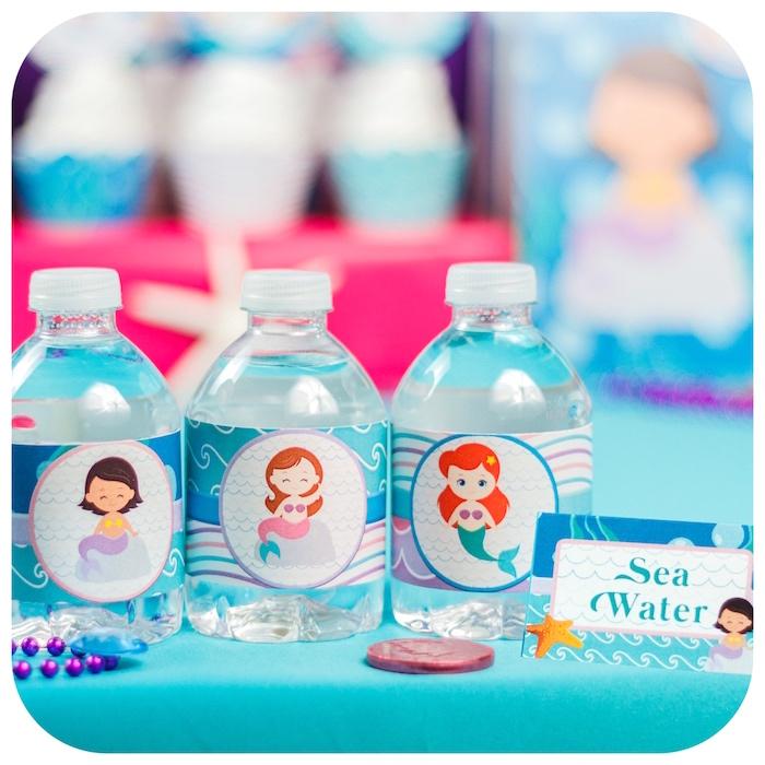 Sea water bottles from a Sweet Little Mermaid Birthday Party on Kara's Party Ideas | KarasPartyIdeas.com (23)