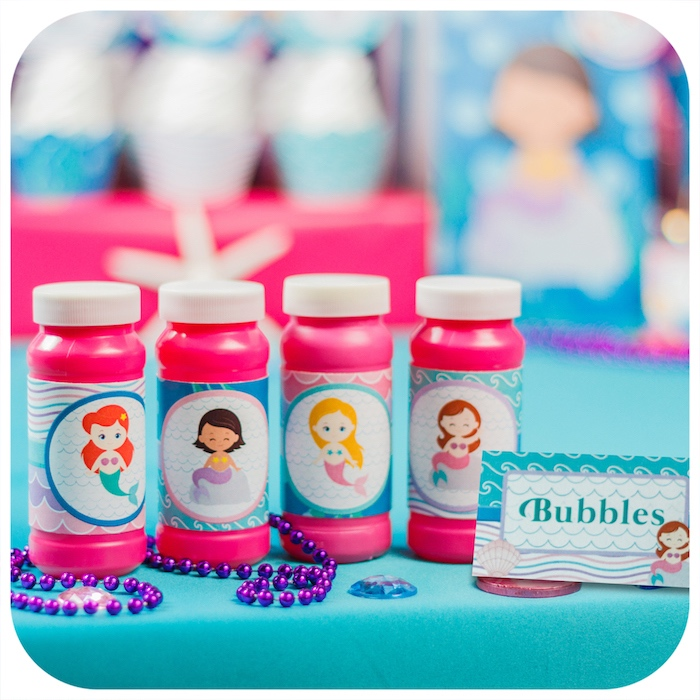Bubble favors from a Sweet Little Mermaid Birthday Party on Kara's Party Ideas | KarasPartyIdeas.com (22)