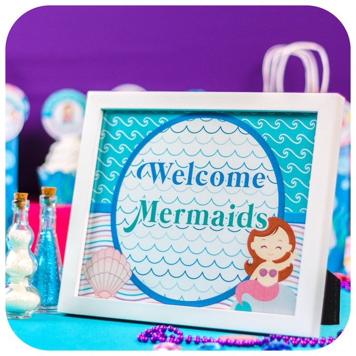 Welcome sign from a Sweet Little Mermaid Birthday Party on Kara's Party Ideas | KarasPartyIdeas.com (21)