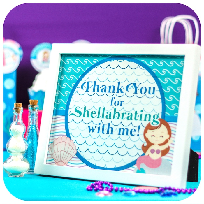 Thank You for Shellabrating party sign from a Sweet Little Mermaid Birthday Party on Kara's Party Ideas | KarasPartyIdeas.com (20)