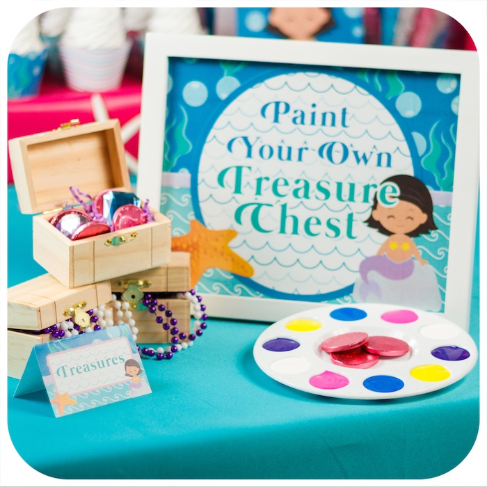 Treasure chest painting activity from a Sweet Little Mermaid Birthday Party on Kara's Party Ideas | KarasPartyIdeas.com (17)