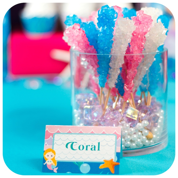 Coral sugar candy sticks from a Sweet Little Mermaid Birthday Party on Kara's Party Ideas | KarasPartyIdeas.com (15)