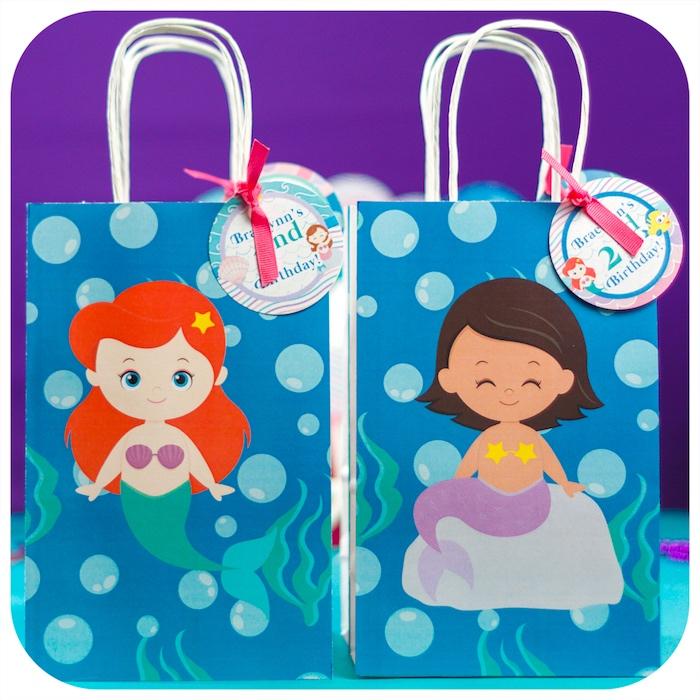 Mermaid favor bags from a Sweet Little Mermaid Birthday Party on Kara's Party Ideas | KarasPartyIdeas.com (14)
