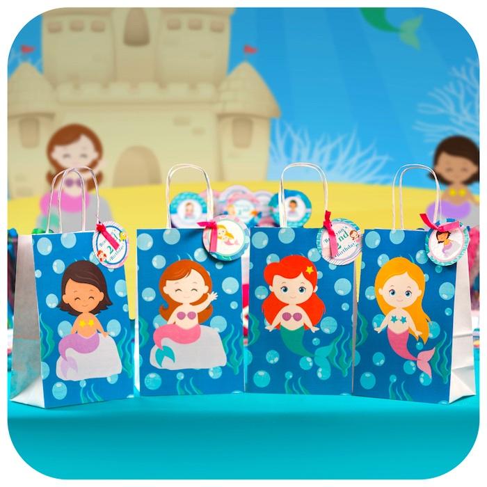 Mermaid favor bags from a Sweet Little Mermaid Birthday Party on Kara's Party Ideas | KarasPartyIdeas.com (13)