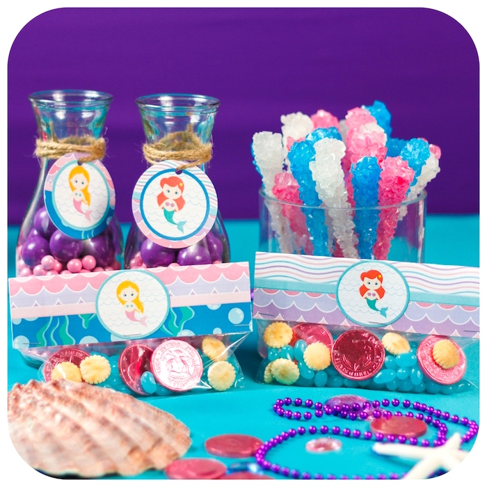 Candy favors from a Sweet Little Mermaid Birthday Party on Kara's Party Ideas | KarasPartyIdeas.com (12)