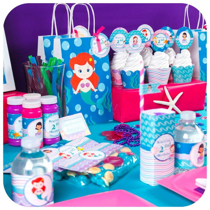 Mermaid party details from a Sweet Little Mermaid Birthday Party on Kara's Party Ideas | KarasPartyIdeas.com (37)