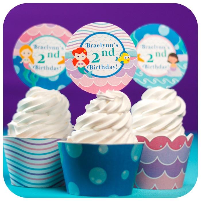 Cupcakes from a Sweet Little Mermaid Birthday Party on Kara's Party Ideas | KarasPartyIdeas.com (7)
