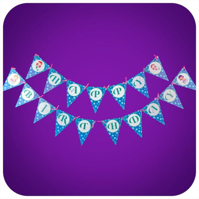 Happy Birthday Banner from a Sweet Little Mermaid Birthday Party on Kara's Party Ideas | KarasPartyIdeas.com (4)