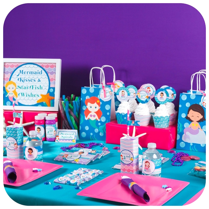 Party table from a Sweet Little Mermaid Birthday Party on Kara's Party Ideas | KarasPartyIdeas.com (36)