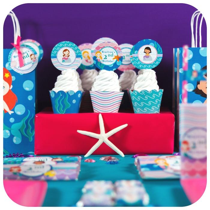 Mermaid cupcakes from a Sweet Little Mermaid Birthday Party on Kara's Party Ideas | KarasPartyIdeas.com (35)