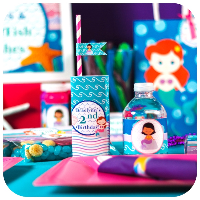 Place setting from a Sweet Little Mermaid Birthday Party on Kara's Party Ideas | KarasPartyIdeas.com (34)