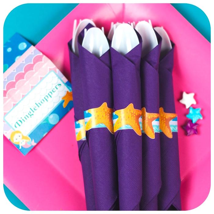 Utensil packs from a Sweet Little Mermaid Birthday Party on Kara's Party Ideas | KarasPartyIdeas.com (33)