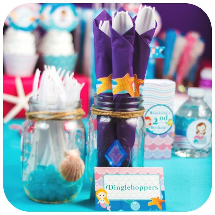 Dinglehoppers + utensils from a Sweet Little Mermaid Birthday Party on Kara's Party Ideas | KarasPartyIdeas.com (32)