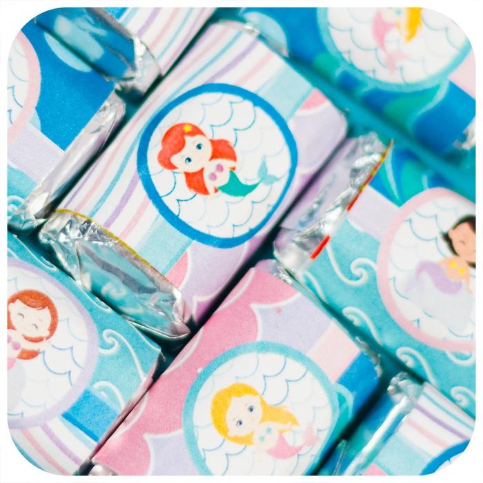 Mini mermaid chocolate bars from a Sweet Little Mermaid Birthday Party on Kara's Party Ideas | KarasPartyIdeas.com (31)