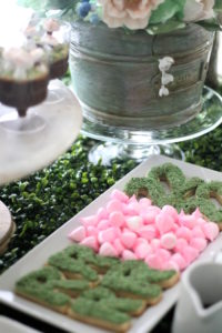 """Cookie crumb """"moss"""" covered cookies + mini pink meringue kisses from a Tea for Two Garden Party on Kara'a Party Ideas   KarasPartyIdeas.com (15)"""