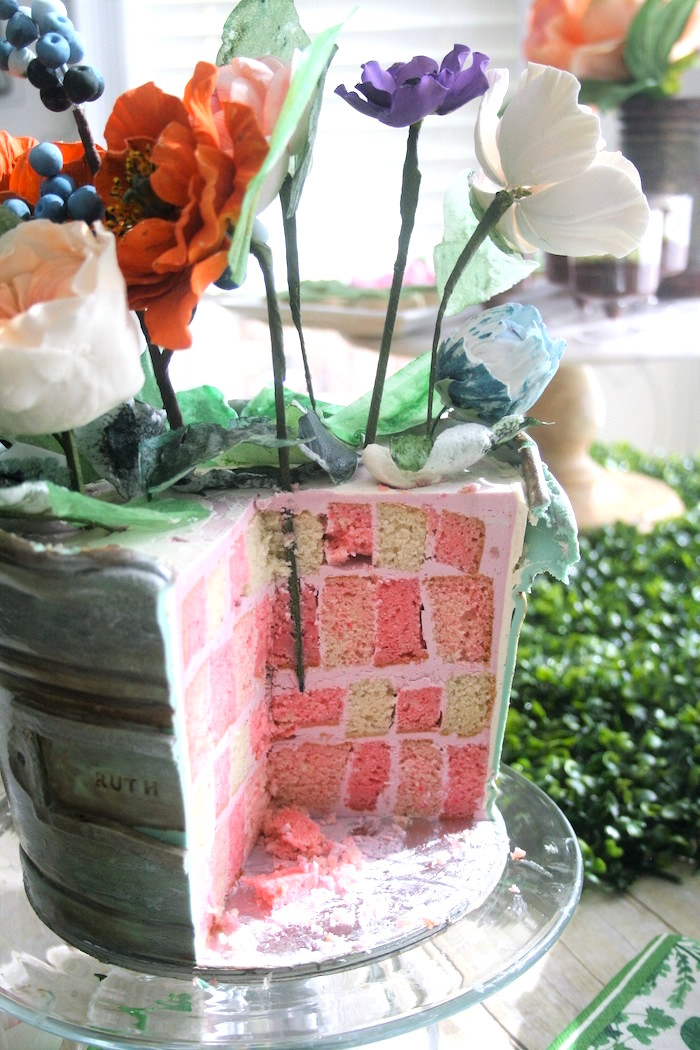 Mosaic tile cake from a Tea for Two Garden Party on Kara'a Party Ideas | KarasPartyIdeas.com (5)
