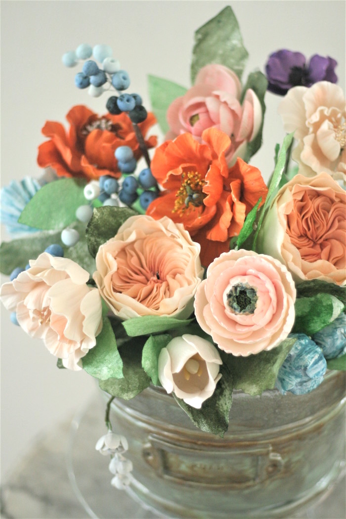 Sugar flowers from a Tea for Two Garden Party on Kara'a Party Ideas | KarasPartyIdeas.com (25)