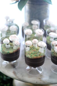 "Chocolate mousse with edible coconut ""moss"" and meringue mushrooms from a Tea for Two Garden Party on Kara'a Party Ideas 