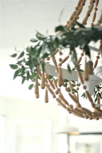 Chandelier draped with Italian ruscous from a Tea for Two Garden Party on Kara'a Party Ideas | KarasPartyIdeas.com (20)