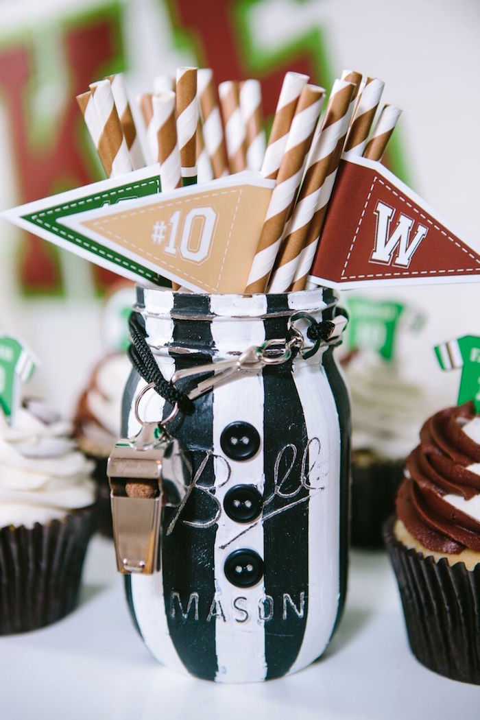 Referee mason jar + flag straws from a Vintage Meets Modern Football Birthday Party on Kara's Party Ideas | KarasPartyIdeas.com (27)