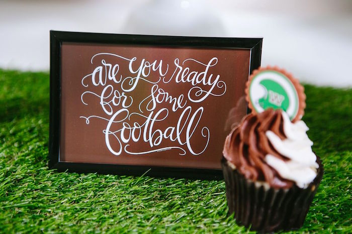 Football party signage from a Vintage Meets Modern Football Birthday Party on Kara's Party Ideas | KarasPartyIdeas.com (25)