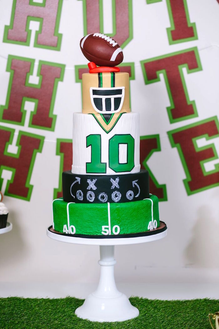Football themed birthday cake from a Vintage Meets Modern Football Birthday Party on Kara's Party Ideas | KarasPartyIdeas.com (24)