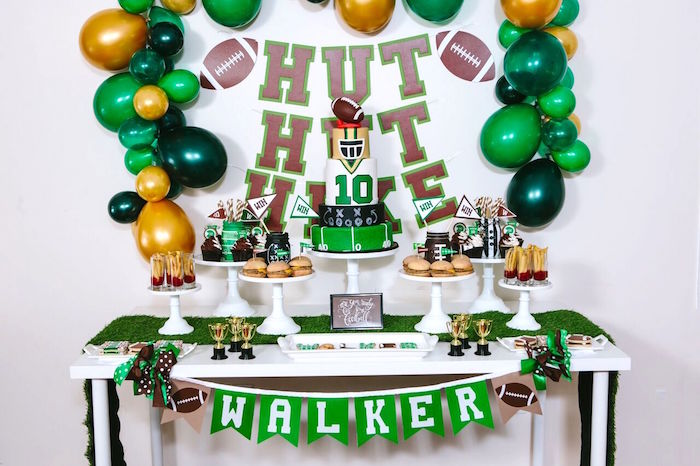Football party table from a Vintage Meets Modern Football Birthday Party on Kara's Party Ideas | KarasPartyIdeas.com (42)