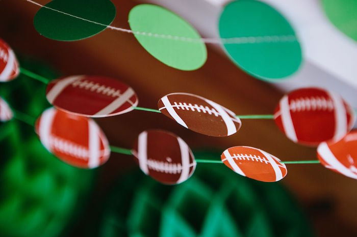 Football bunting from a Vintage Meets Modern Football Birthday Party on Kara's Party Ideas | KarasPartyIdeas.com (21)