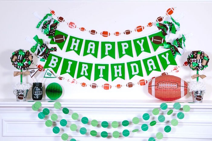 Happy Birthday banner + bunting from a Vintage Meets Modern Football Birthday Party on Kara's Party Ideas | KarasPartyIdeas.com (20)