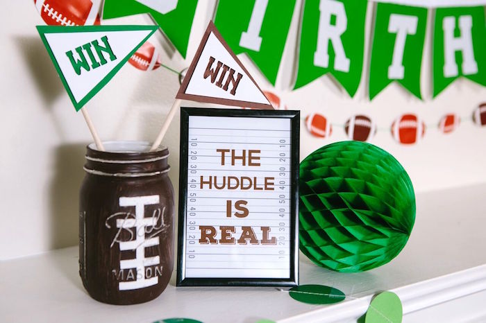 Football party decor from a Vintage Meets Modern Football Birthday Party on Kara's Party Ideas | KarasPartyIdeas.com (18)