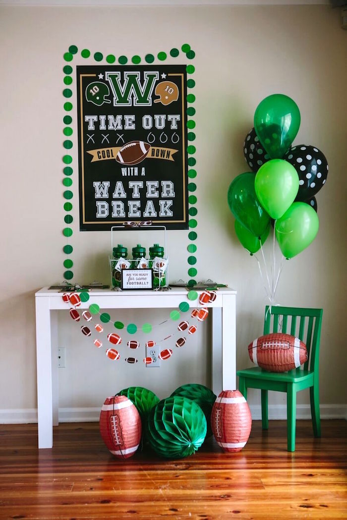 Football party table from a Vintage Meets Modern Football Birthday Party on Kara's Party Ideas | KarasPartyIdeas.com (17)