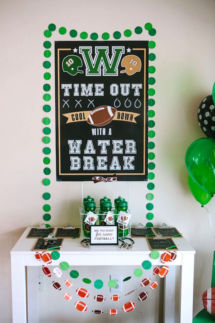 Favor table from a Vintage Meets Modern Football Birthday Party on Kara's Party Ideas | KarasPartyIdeas.com (16)