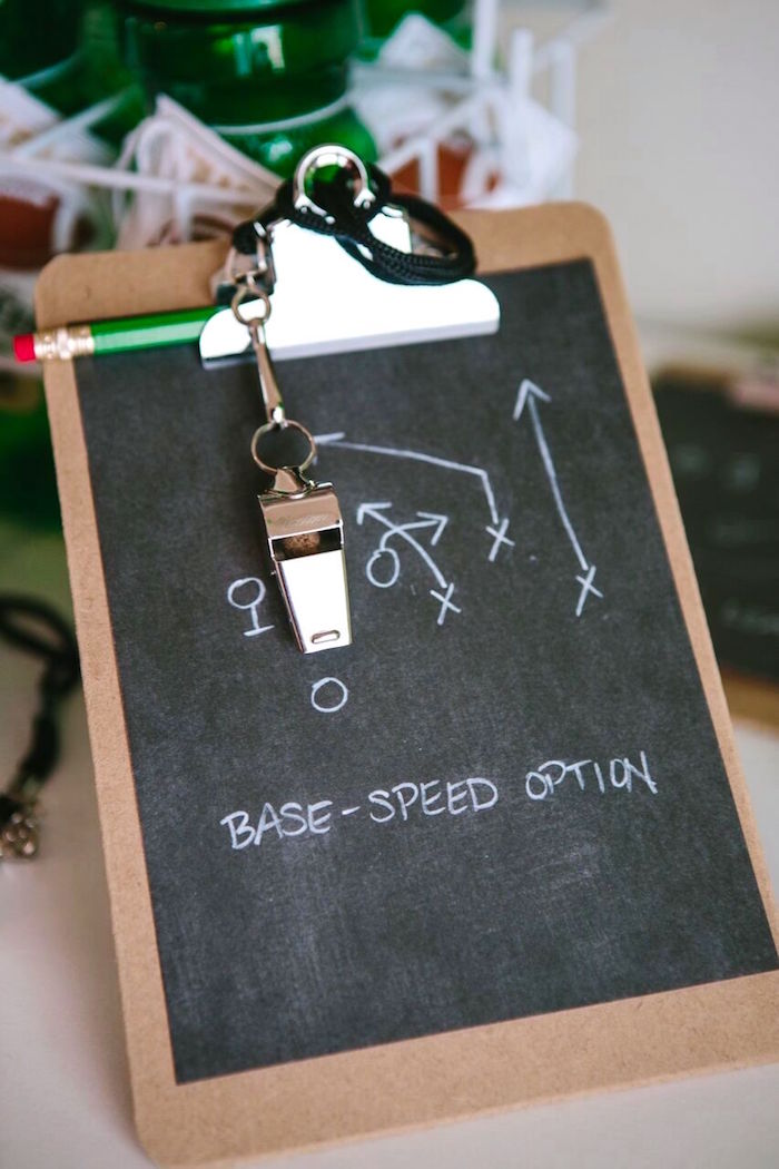 Game-play clipboard favor from a Vintage Meets Modern Football Birthday Party on Kara's Party Ideas | KarasPartyIdeas.com