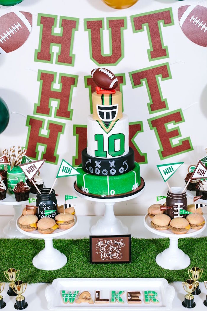 Cakescape from a Vintage Meets Modern Football Birthday Party on Kara's Party Ideas | KarasPartyIdeas.com (41)