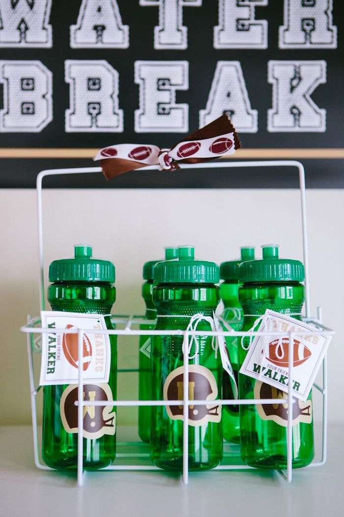 Water bottles in a wire basket from a Vintage Meets Modern Football Birthday Party on Kara's Party Ideas | KarasPartyIdeas.com (13)