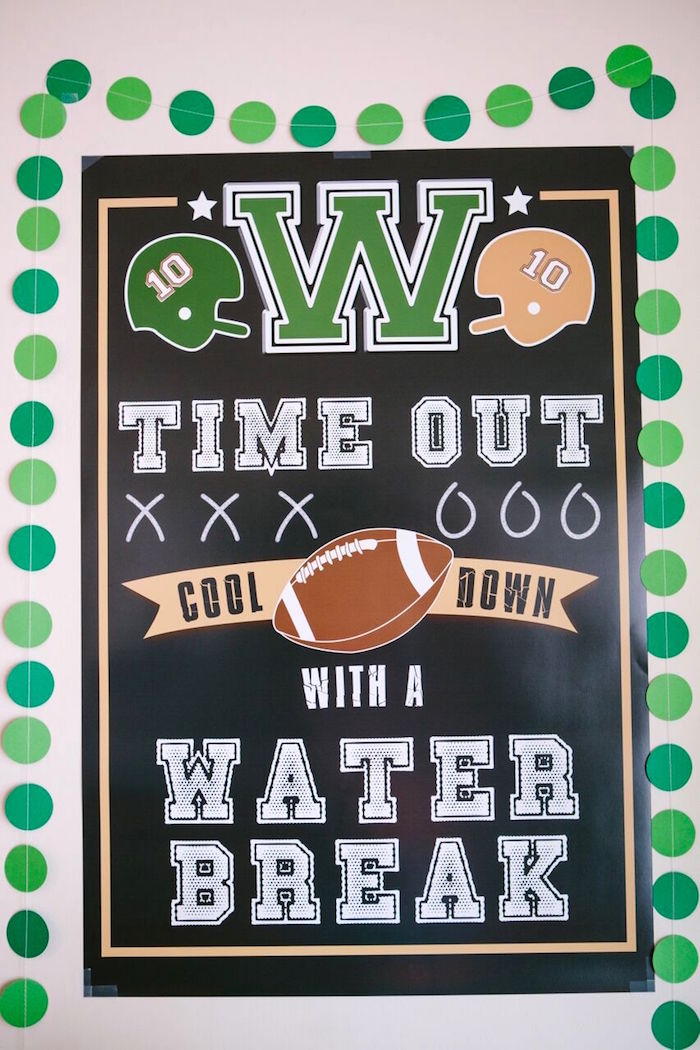 Time Out + Water Break Poster from a Vintage Meets Modern Football Birthday Party on Kara's Party Ideas | KarasPartyIdeas.com (12)