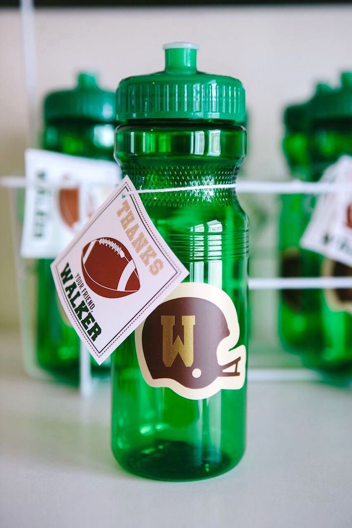 Water bottle favor from a Vintage Meets Modern Football Birthday Party on Kara's Party Ideas | KarasPartyIdeas.com (11)