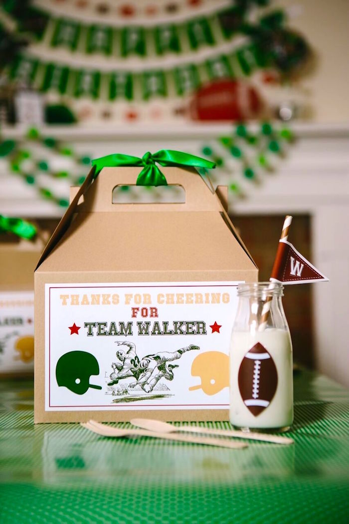 Gable lunch box from a Vintage Meets Modern Football Birthday Party on Kara's Party Ideas | KarasPartyIdeas.com (7)