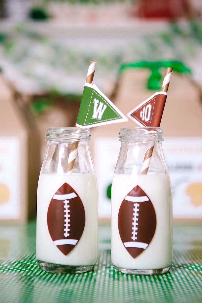 Football milk bottles from a Vintage Meets Modern Football Birthday Party on Kara's Party Ideas | KarasPartyIdeas.com (6)
