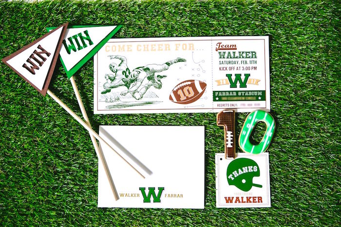 Game-ticket invitation from a Vintage Meets Modern Football Birthday Party on Kara's Party Ideas | KarasPartyIdeas.com (5)