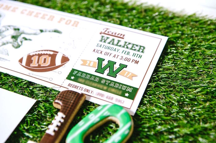Game-ticket invitation from a Vintage Meets Modern Football Birthday Party on Kara's Party Ideas | KarasPartyIdeas.com (4)