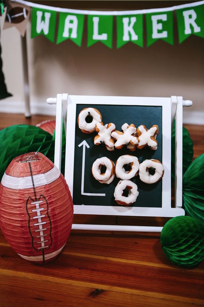 Doughnut game board from a Vintage Meets Modern Football Birthday Party on Kara's Party Ideas | KarasPartyIdeas.com (40)