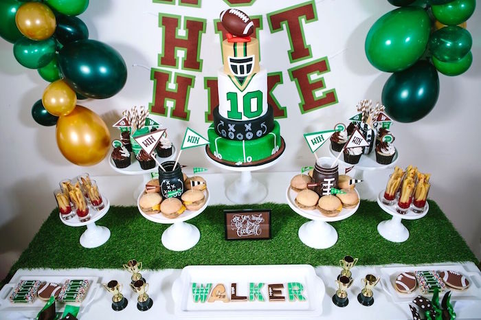 Cake table from a Vintage Meets Modern Football Birthday Party on Kara's Party Ideas | KarasPartyIdeas.com (38)