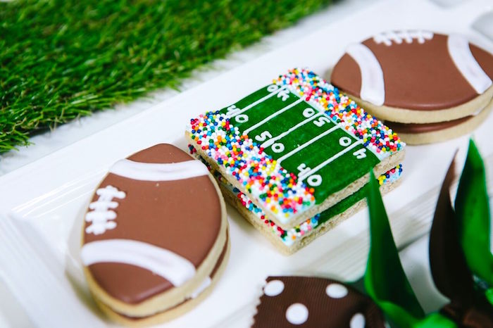 Football themed sugar cookies from a Vintage Meets Modern Football Birthday Party on Kara's Party Ideas | KarasPartyIdeas.com (37)
