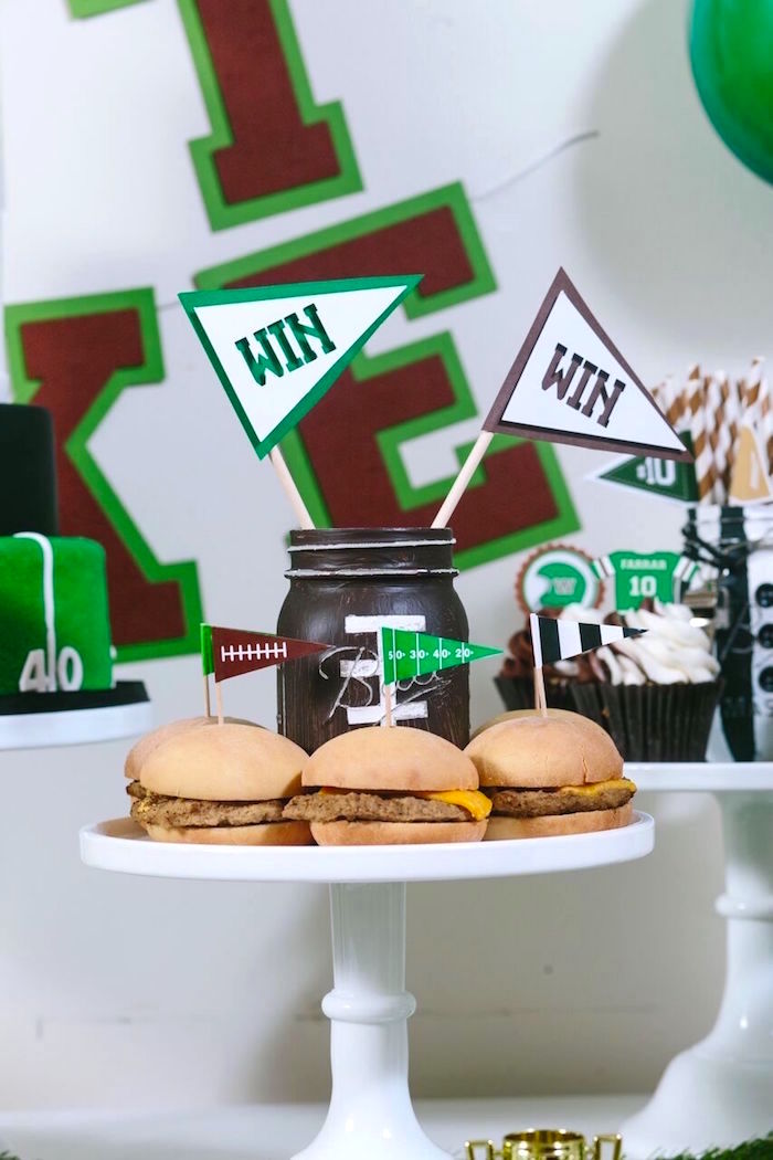 Food pedestal from a Vintage Meets Modern Football Birthday Party on Kara's Party Ideas | KarasPartyIdeas.com (36)