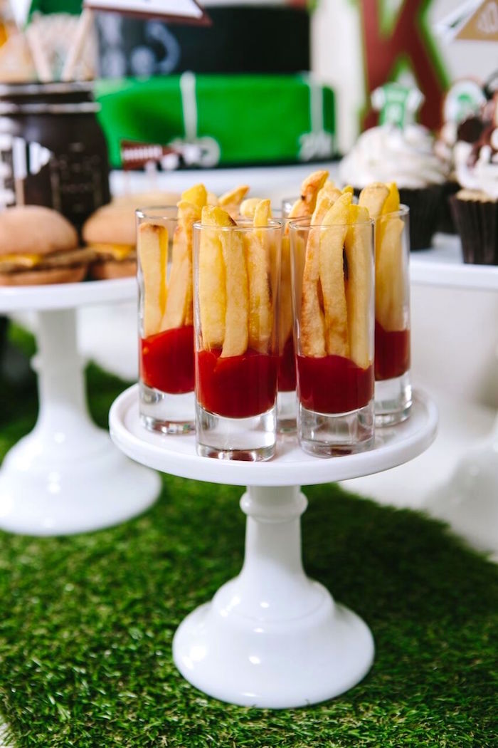 French fry shooters from Vintage Meets Modern Football Birthday Party on Kara's Party Ideas | KarasPartyIdeas.com (34)