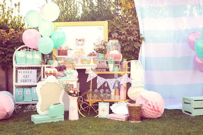Kitty cat party spread from a Whimsical Shabby Chic Cat Themed Birthday Party on Kara's Party Ideas | KarasPartyIdeas.com (26)